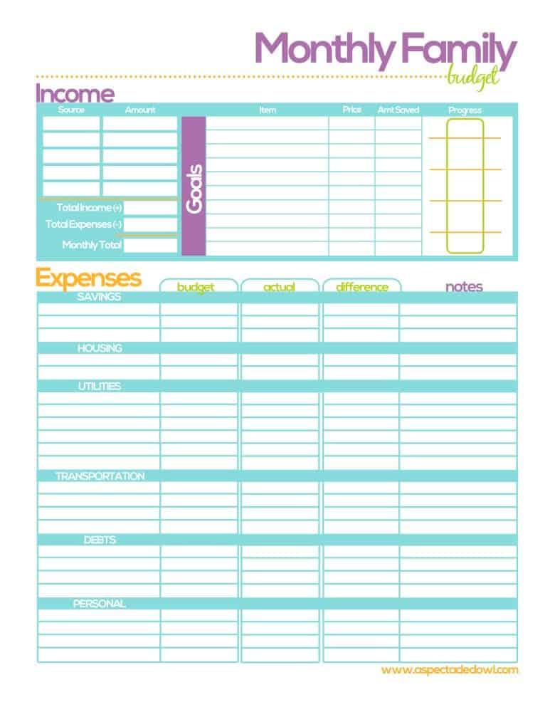 Free Family Budget Printable