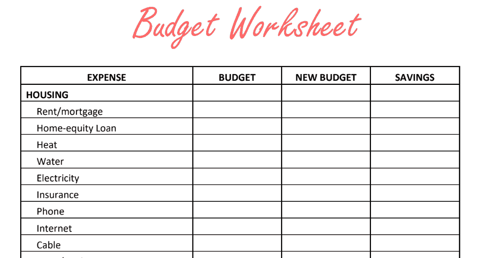 Paycheck to Paycheck Budget Worksheet